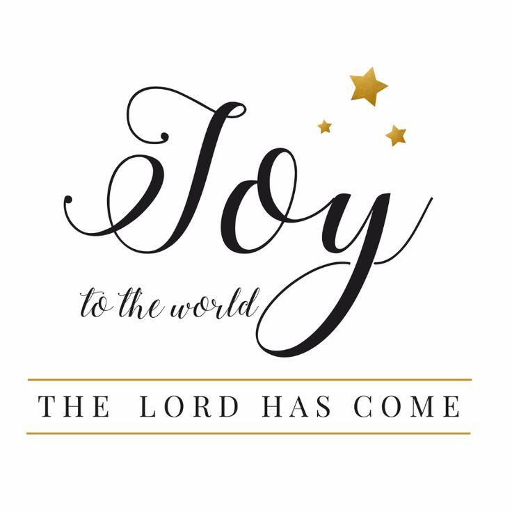 Kerstkaart met de tekst: Joy to the world, the lord has come! Gemaakt met sierlijke handlettering, verkrijgbaar bij #kaartje2go voor €1,89