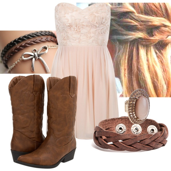 i love wearing dresses with cowboy boots so cute