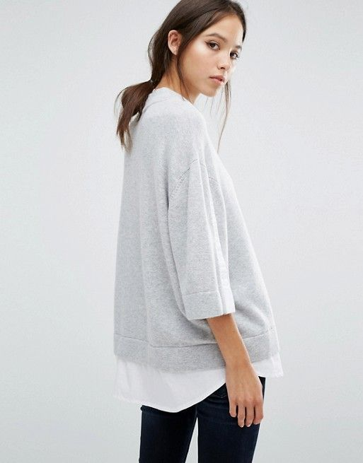 Minimal trends   Structured grey sweater over white shirt and dark skinny jeans