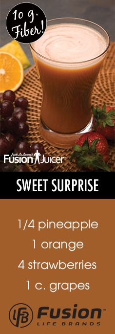 """Indulge in this """"Sweet Surprise"""" juice for a delicious and fruity blend! #JackLaLanne #FusionJuicer #Juicing #HealthyLiving"""
