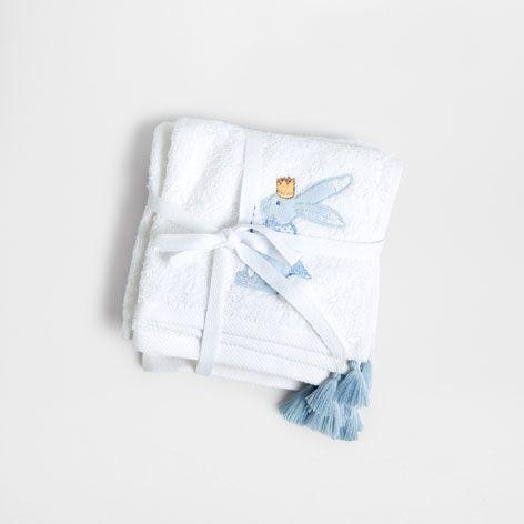 HANDDOEK MET GEBORDUURDE KONIJNTJES (SET VAN 3) - Handdoeken - Bad | Zara Home Netherlands