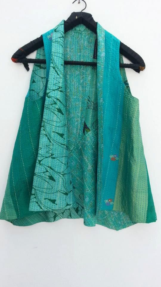 Recycled Sari silk hand stitched vest Aqua by TastyOldChooksClothz