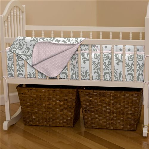 Pink and Gray Traditions Cradle Bedding | Carousel Designs