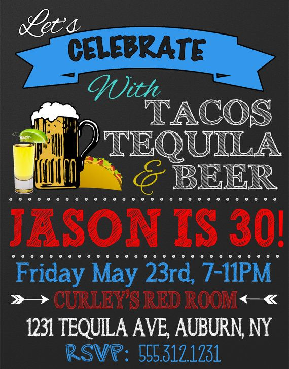 Tacos tequila beer birthday party invite by CustomPrintablesNY