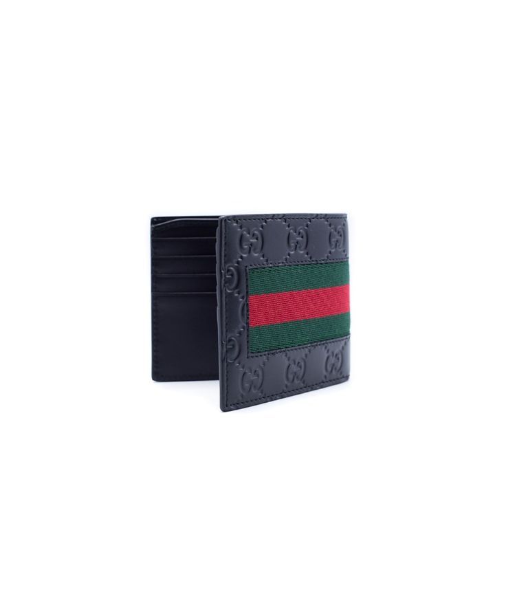 GUCCI Gucci Men'S Black Leather Signature Web Wallet'. #gucci #wallets