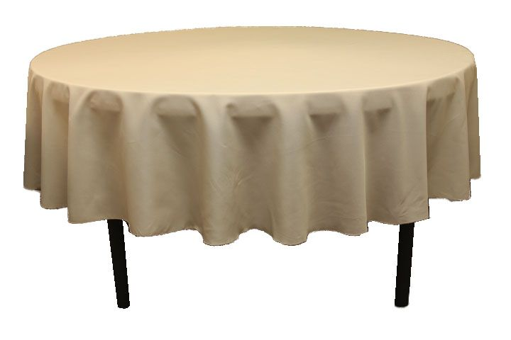 Polyester 90 inch Round Tablecloth Champagne at CV Linens