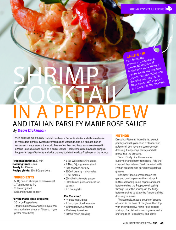 We're taking a look back at 2014 – a truly great year of #RSD! The shrimp or prawn cocktail has been a favourite starter and all-time classic at many gala dinners, awards ceremonies and weddings for decades – it's a classic! In August we had this Shrimp Cocktail in a Peppadew and Italian Parsley Marie Rose Sauce recipe in #RSD and it was a winner!