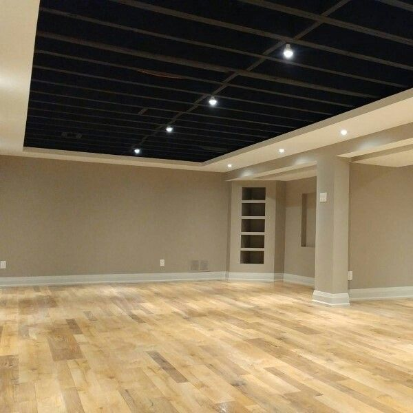 Oooh Clever Partial Ceiling Around Perimeter For Coved Ceiling Effect And Extra Pot Lighting Basement Design Basement Remodeling Basement Remodel Diy