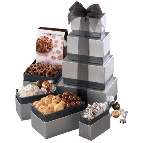 Broadway Basketeers Sterling Silver Gift Tower - http://mygourmetgifts.com/broadway-basketeers-sterling-silver-gift-tower/