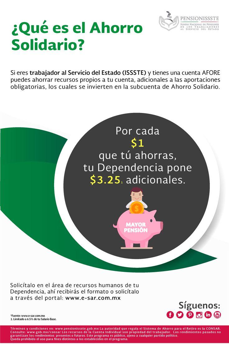 ¿Cotizas para el ISSSTE? El Ahorro Solidario es una manera de incrementar tu retiro. Llámanos al 5062 0555 #QueTuAhorroCuente