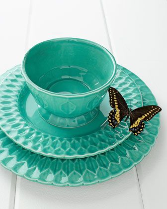 """Destinos 12-Piece """"Quilted"""" Neiman Marcus #turquoise #butterfly pretty dishes"""