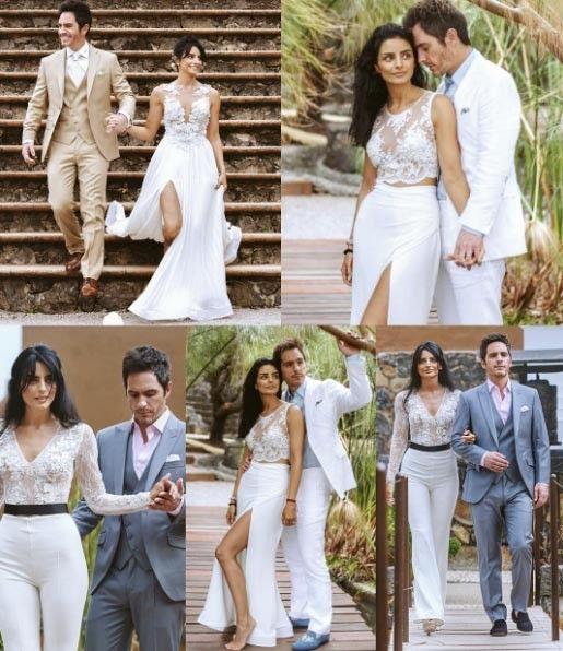 Estos fueron los outfits que lució Aislinn Derbez en su boda con Mauricio Ochmann