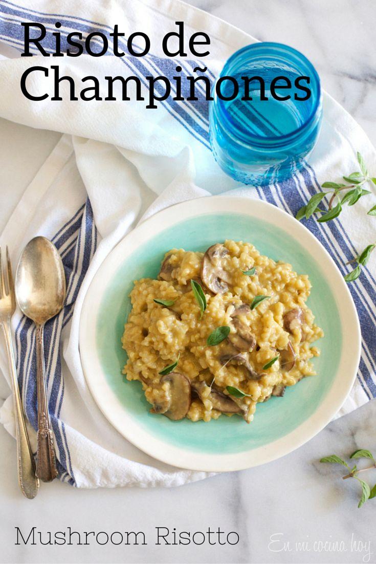 Risoto de champiñones con arroz integral y hecho en el horno. Fácil, cremoso y delicioso.