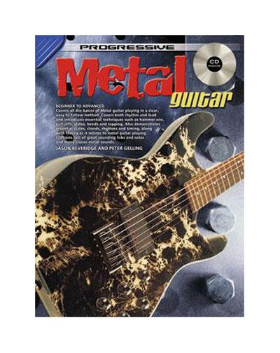 Progressive Metal Guitar Method - CD CP69180 - BC Wholesalers The Progressive Metal Guitar Method covers all the basics of metal guitar playing in a clear, easy to follow method. It covers both rhythm and lead and introduces essential techniques such as hammer-ons, pull-offs, bends and tapping. Essential scales, chords, rhythms and timing are demonstrated along with music theory as it relates to metal guitar playing.