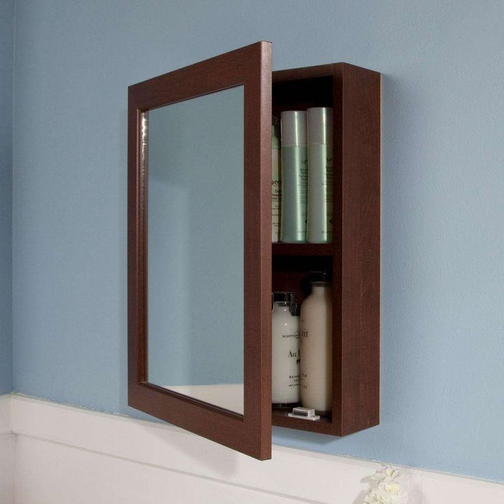 Bathroom:Simple Rectangle Brown Wood Mirror Medicine Cabinet Decor Ideas For Bathroom What Mirror Medicine Cabinet That Fits To Your Bathroom?