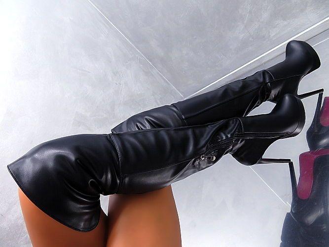 NEU Lange Overknee Hohe Stiefel Plateau Boots J98 Damen Schuhe High Heels 35-40