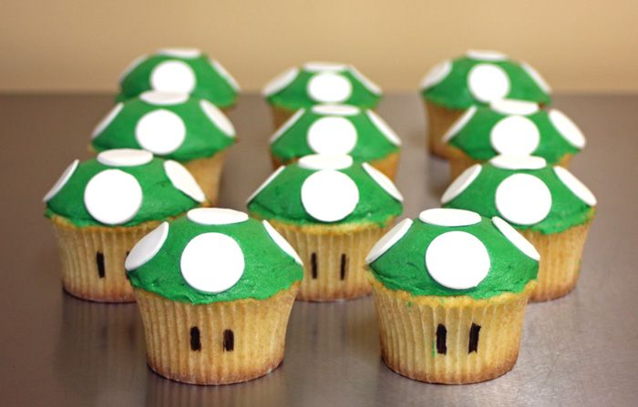 These adorable Super Mario cupcakes are of the infamous 1-up mushroom. They are easy to make and sure to please any classic gamer.