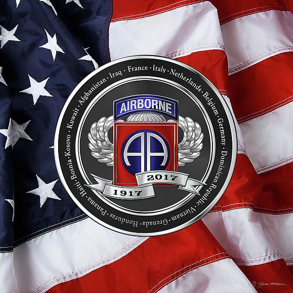 82nd Airborne Division 100th Anniversary Medallion Over American Flag  Introducing 'Military Insignia & Heraldry' collection by Serge Averbukh, showcasing military and government heraldry artwork.