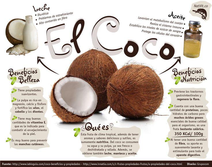 El coco posee muchísimas propiedades cosméticas, nutritivas y medicinales por las que es conveniente, incorporarlo a la dieta. Es un fruto exótico cuyos beneficios y propiedades pueden convertirle en una fruta saludable, tomada con moderación.