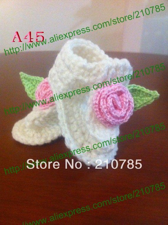 Вязаные Детские Сандалии, девочка Вязание белые/розовые цветы обувь, Младенца вязания крючком сапожок 60 пара/лот Бесплатная Доставка