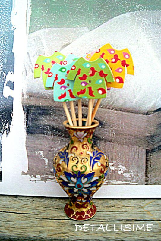 palillos de madera decorados (10 cms). Perfectos para adornar tartas, bizcochos, cupcakes, muffins, aperitivos, pinchos. Mesas dulces, saladas, caterings. pedidos y catálogo: detallisime@yahoo.es