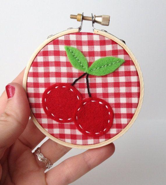 Cherries Hoop Art 3 Embroidery Hoop Felt Cherry by AlleycatandCo, $5.00