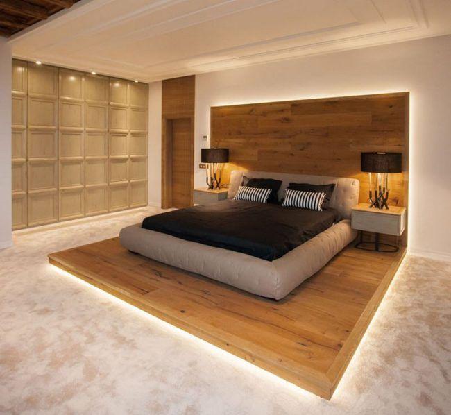 Schlafzimmer Design Mit Holz Podest Bett Kopfteil Led