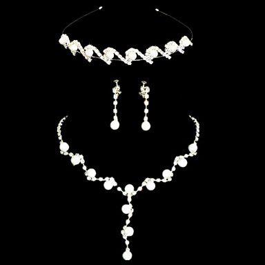 Elegant+Wit+Alloy+Verzilverd+Pearl+Tiara+ketting+Oorbellen+Bruiloft+bruids+sieraden+set+–+EUR+€+15.83