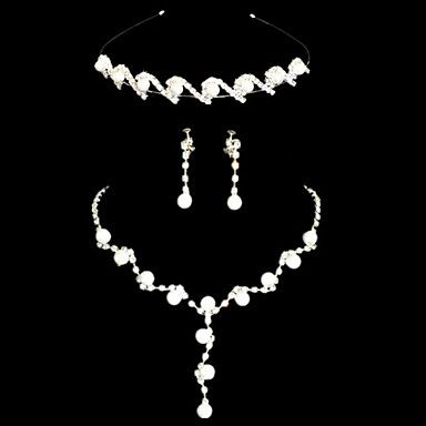 Elegant White Alloy Silver Plated Pearl Tiara Necklace Earrings Wedding Bridal Jewelry Set – USD $ 19.19