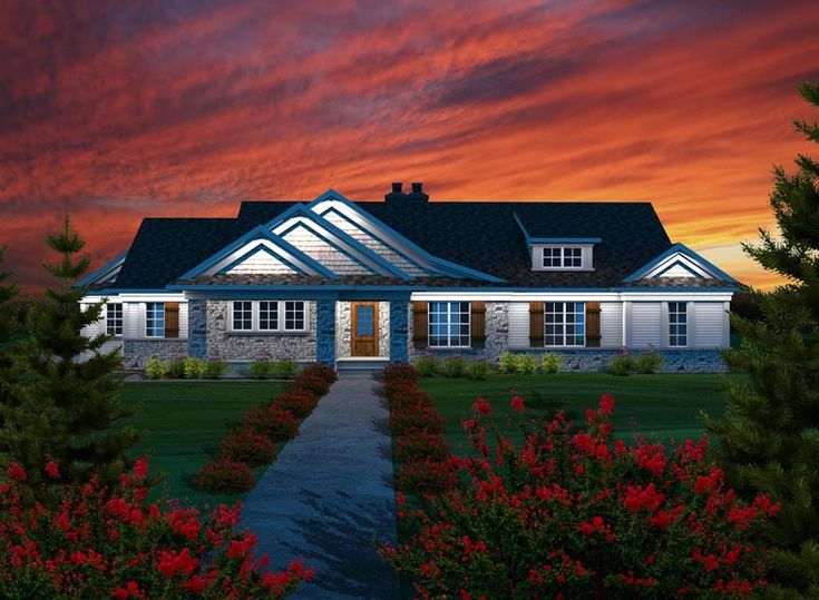 Best House Plan Favourites Images On Pinterest Dream - Craftsman house plans with 3 car garage