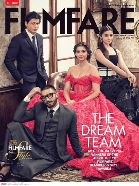 The Dream Team: SRK, Alia, Sonam and Ranveer Dazzle the #Filmfare Cover