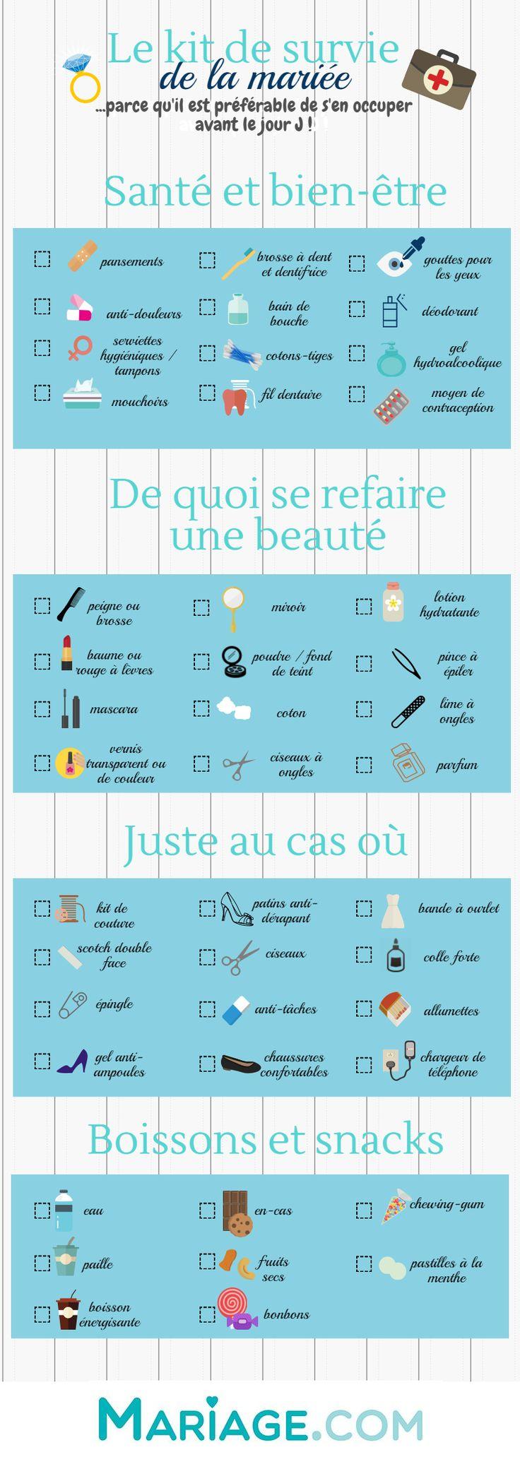 """Nous collons cette infographie """"kit de survie pour la mariée"""" sur son frigo – Mariage"""