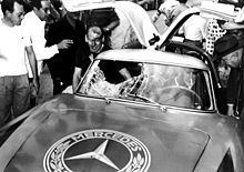 It's just a scratch! King and Klenk, after crashing their 300SL in the Carrera Panamericana. From 1950 to 1955, the five-day event that ran nearly 3300 kilometers through Mexico from north to south, bore witness to some of the greatest competitions in motor sports. After two years, however, the race was touted as the most dangerous race ever, and in 1955, after many more such accidents, the Panamericana highway closed its doors to this storied race.