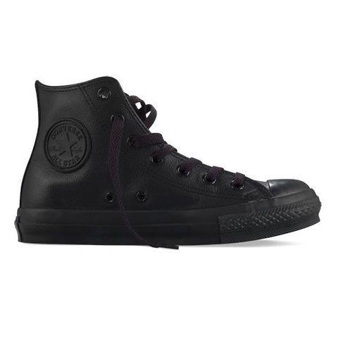 Converse Chuck Taylor All Star Shoes Leather Hi Black Monochrome: Shoes