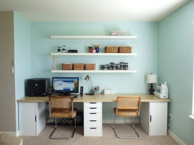 Vika table and cabinets from Ikea. 10 ft x 29 inches (using 2 tabletops). Total around $260.