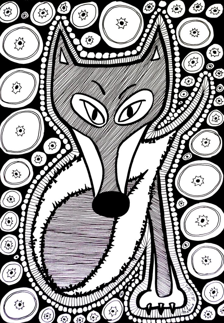Black White Drawing Of A Fox Composed Many Elements And Shapes Color It