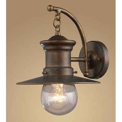 "Maritime 12"" One Light Outdoor Wall Lantern in Hazelnut Bronze and Clear Seeded Glass"