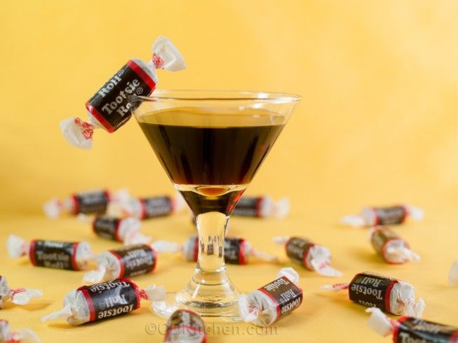Grown-Up Tootsie Roll - CDKitchen.com -  If you like Tootsie Roll candies then this cocktail is for you. It's made with equal parts Kahlua and orange liqueur (and garnished with a real Tootsie Roll).