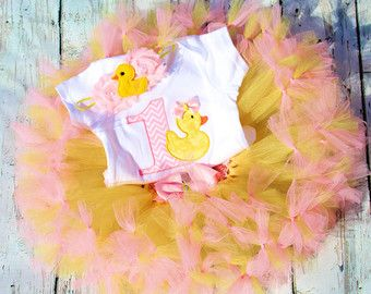 Rubber Duck Birthday Girl First Birthday Rubber Duck by SewsnBows