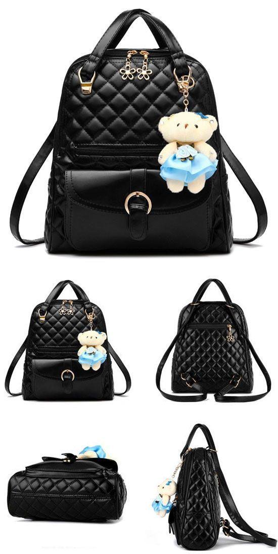 Fresh Quilted Backpack Flower Zipper Shoulder Bag Bear Handbag is very cute! #flower #fresh #backpack #bag #bear
