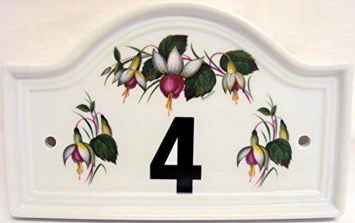 Fuchsia House Door Number Plaque Ceramic Fuchsia House Door Number Sign Any Number Available Hand Decorated in the U.K. Free UK Delivery Rainbow Decors Ltd http://www.amazon.co.uk/dp/B00ZGSIJD6/ref=cm_sw_r_pi_dp_L5SJwb1S505GX