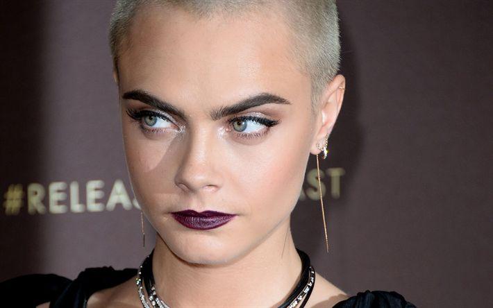 Télécharger fonds d'écran Cara Delevingne, coiffure courte, blonde, portrait, bourgogne make-up, le top-model Britannique
