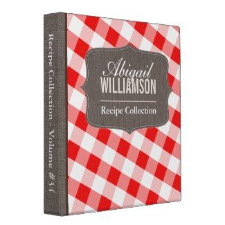 Red & White Gingham Southern Recipe Binder