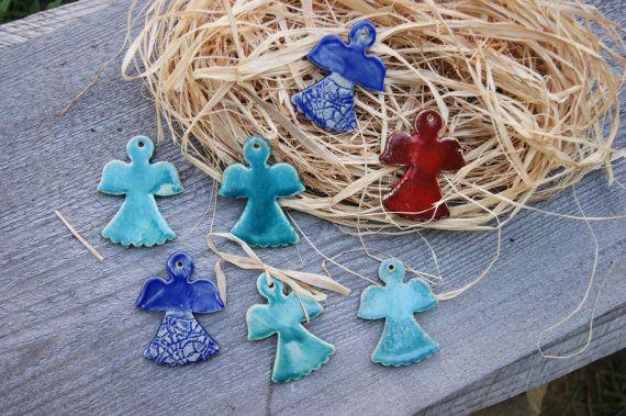 7 Ceramic angel christmas tree decorations  Christmas decorations by GlinianaKoniczynka