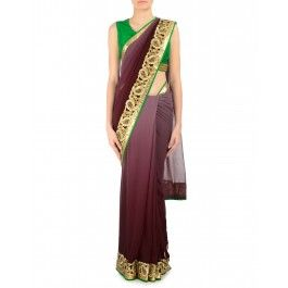 Ombre Brown Sari with Embellished Border