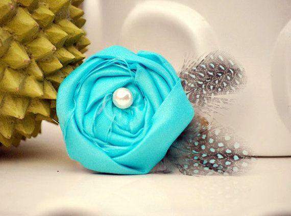 Tiffany Aqua Blue & Feathers Clip. Handmade Rosettes, shabby chic accessory by sofisticata, http:// sofisticata.etsy.com MANY other colors available.