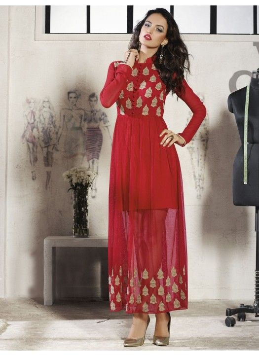 New Red Georgette Designer Western Dress#Latest#New_arrival#Beautiful #Designer