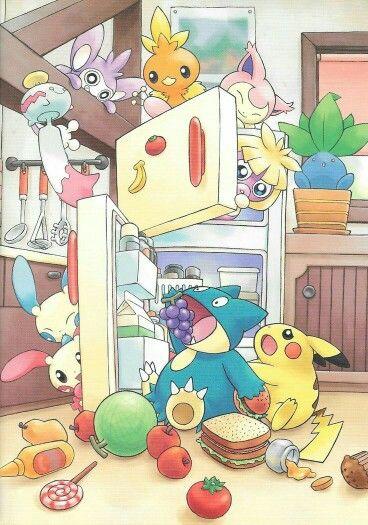 Pokémon, Munchlax, eating, food, fridge, cute, funny ...  Munchlax Eating