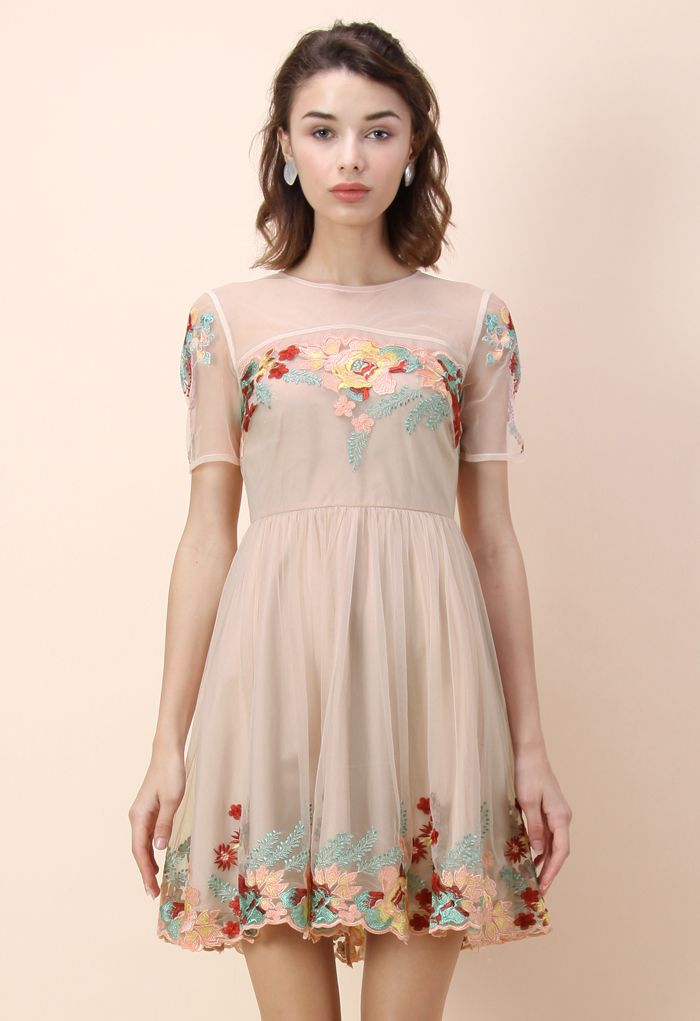 Festive Garden Embroidered Mesh Dress - Dress - Retro, Indie and Unique Fashion