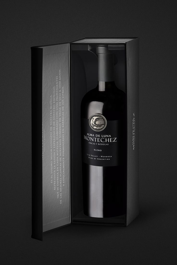 "Literally, Montechez means Mountain and Moon. It's the place where the romance between these elements was born. When Caliptra designed this packaging, the goal was to represent the light & the bright moon in the dark immensity of the night.  ""There is a moment when the mountain and the moon join in a magical communion.. It is the instant when the warm days give way to cool nights to afford strains which express all their potential and give the grapes a sublime character. """